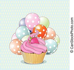 Birthday Cupcake - Illustration of sweet cupcake, strawberry...