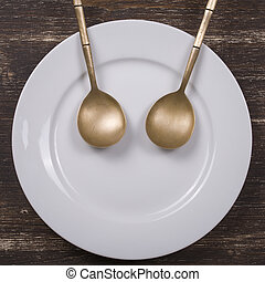 Facial image on the plate with spoons - Fun plate - facial...