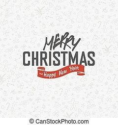 Merry Christmas Greeting Card on White Xmas Hand Drawn Background