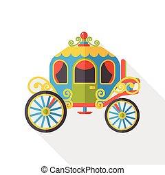 caballo, carruaje, plano, icono,