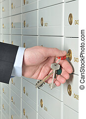 Deposit safe bank - copula of the keys is in the hands of...