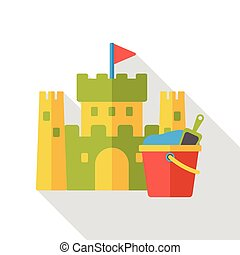 sand castle and bucket flat icon