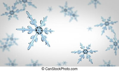 snowflakes focusing 4K white - Ice crystal snowflakes of...