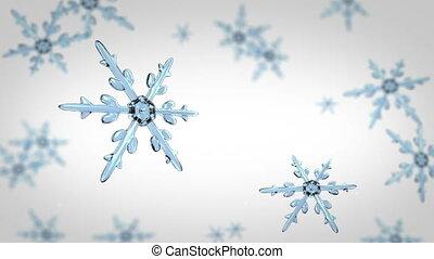 snowflakes focusing 4K white - Ice crystal snowflakes of...