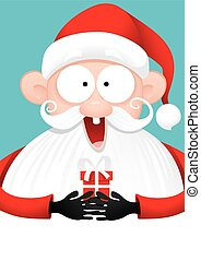 Happy Santa Claus with Gift Vector Cartooneps - Vector...