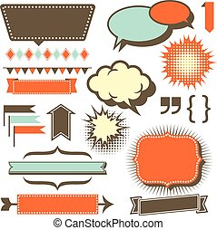 Retro Copy Space Elements - Set of retro 1950's style design...