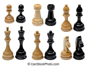 Set of wooden chess pieces light and dark colors