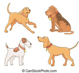 set of cartoon dogs. vector
