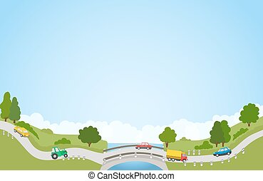 landscape with road and cars, river and bridge, trees and clouds. vector