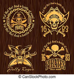 Pirate labels set - design for badges, logos and t-shirt...