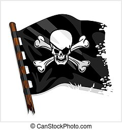Black pirate flag with skull and bones