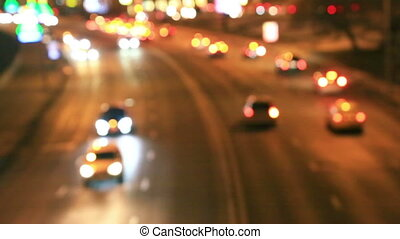 High speed night traffic in city - Highway and many cars...