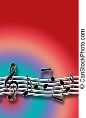 Warm Music Theme with Musical Symbols over Multicolored...