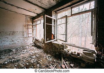 Abandoned Building Interior. Chernobyl Disasters - Abandoned...