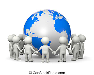Together Around the World - White 3D Characters Holding...