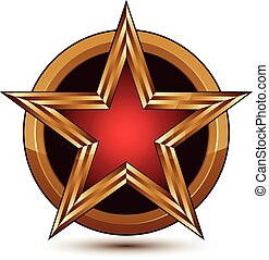 Vector glorious glossy design element, luxury 3d red star with golden borders placed on a splendid surface, conceptual graphic template, clear EPS 8.