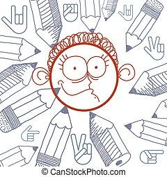 Vector hand drawn cartoon happy boy Education theme graphic...