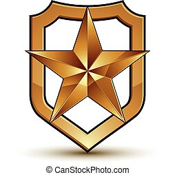 Sophisticated vector blazon with a golden star emblem, 3d pentagonal glamorous design element, clear EPS 8.