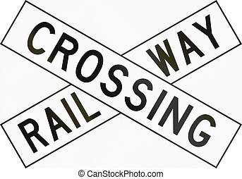 New Zealand road sign PW-14 - Railway crossbuck.