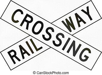 New Zealand road sign PW-14 - Railway crossbuck.