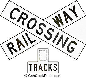 New Zealand road sign PW-14 - Railway crossbuck (multiple...