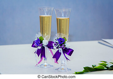 Wedding glass with champagne