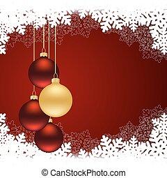christmas red card - Christmas card with christmas balls on...