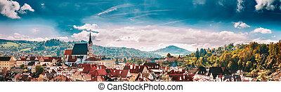 Panoramic cityscape Cesky Krumlov, Czech republic Sunny...