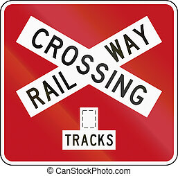 New Zealand road sign PW-14b - Railway crossbuck (multiple...