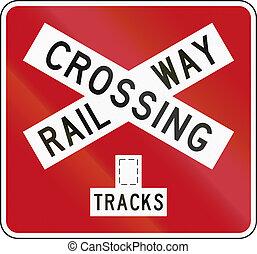 New Zealand road sign PW-14b - Railway crossbuck (multiple...