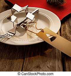 Arrangement for Christmas dinner on rustic table
