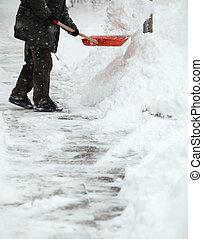 homme, déblayement, neige, trottoir, devant, sien,...