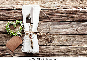 Heart Shaped Wedding Wreath at Rustic Table Setting - High...