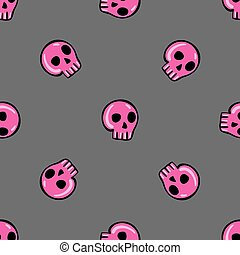Doodle seamless pattern with skull - 3