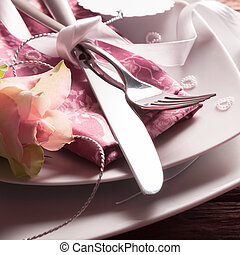 Romantic Place Setting with Rose and Pearl Hearts