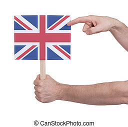 Hand holding small card - Flag of the UK