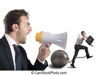 Mobbing rush - Boss reproach employee who runs with...