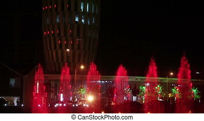 Dancing fountain at night - Fast shooting night dancing...