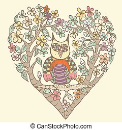 Owl Flower with Heart Vector