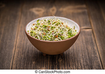 Mix of sprouted seeds in bowl on a wooden background