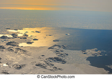 Sunset over the Greenland in spring time