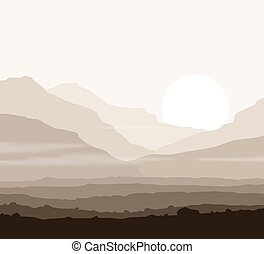 Lifeless landscape with huge mountains over sun. Vector...