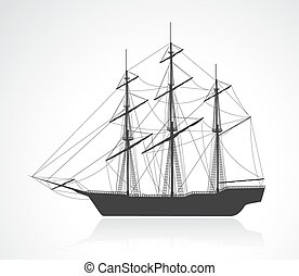 Black old sailing ship silhouette Detail vector illustration...