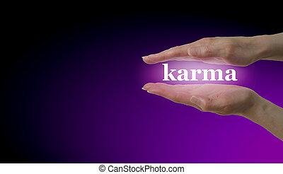 karma, seu, mãos