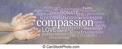 Compassion Word Cloud - - wide banner with a woman's hands...