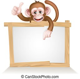 Cartoon Monkey Sign