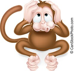 Hear no Evil Cartoon Wise Monkey - Haer no evil cartoon wise...