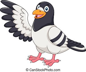 Cute Pigeon bird presenting isolate - Vector illustration of...