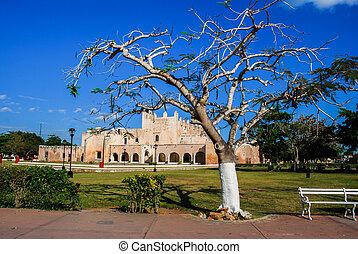 Convent of San Bernardino de Siena in Valladolid, Mexico....
