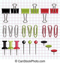Paper clips and buttons on the notebook sheet